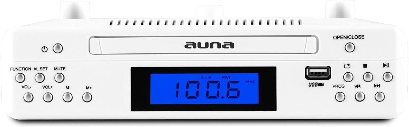 wei/ß auna KR 150 Unterbau-K/üchenradio CD Unterbauradio K/üche Dual-Alarm, MP3-CD, USB, AUX