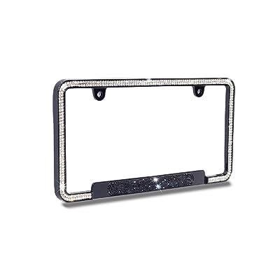 JR2 Premium Shinning Glass Crystals Black Metal License Plate Frame(Oval Shiny Crystal Design)+Free Caps (Black): Automotive