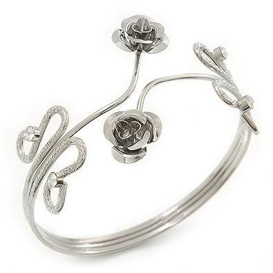 Avalaya Rhodium Plated Crystal Floral Upper Arm Bracelet - Adjustable TzjB0S