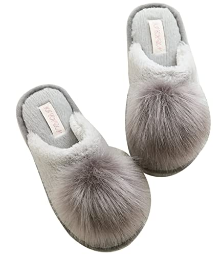 5a25bcc7a1a FreLO Women s Grey Plush Pom-pom Fluffy Slippers Cute Slippers ...