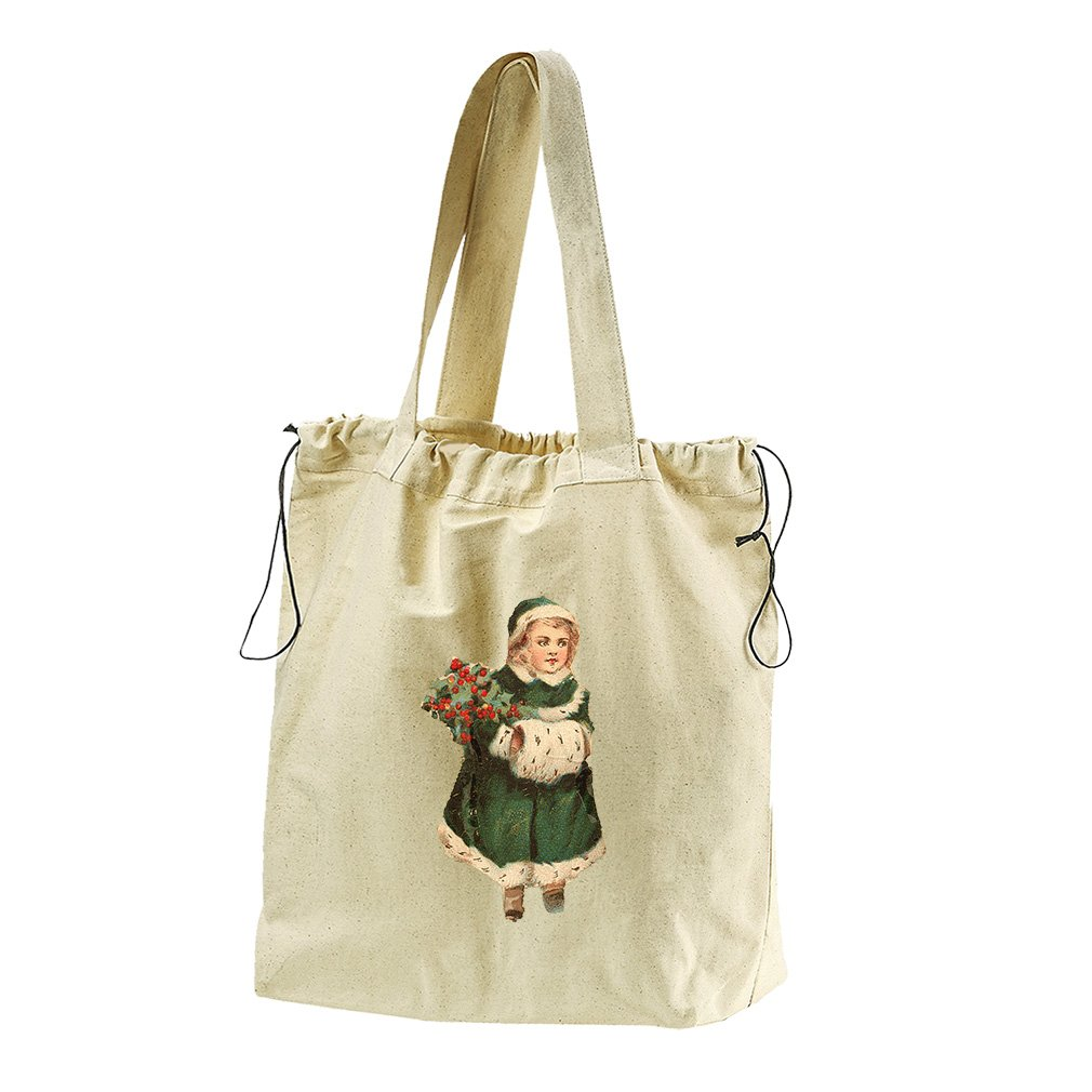 Girl In Green Coat Vintage Look #2 Canvas Drawstring Beach Tote Bag