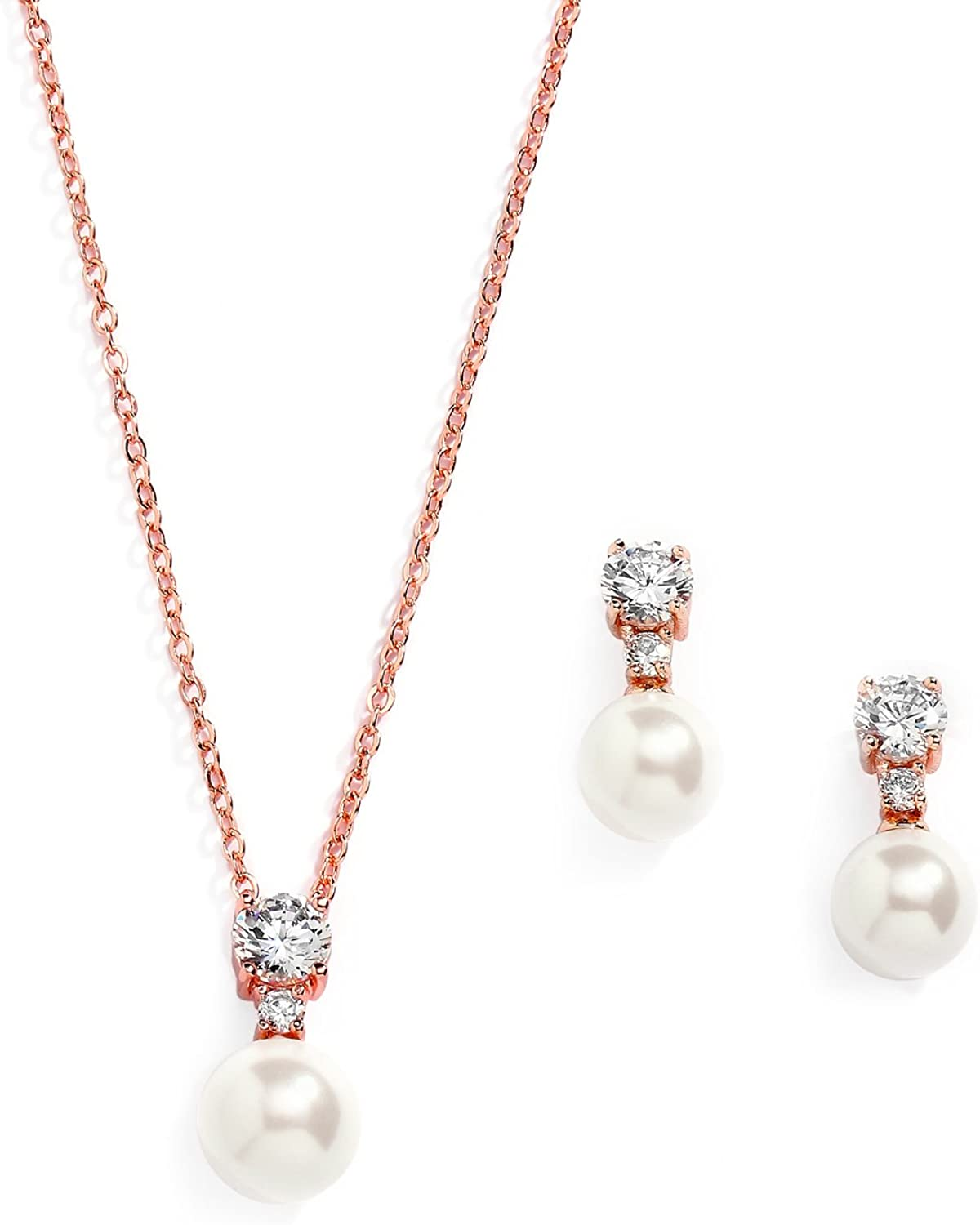 Set of 4 Rose Gold Floating Single Pearl Jewelry Set Necklace Bracelet Earrings Bridesmaid Pearl Jewelry Set