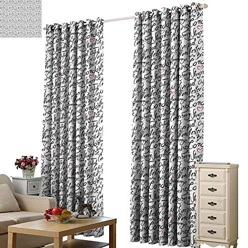 - WinfreyDecor England Curtain for Kids Famous Cities in Monochrome Hand Lettering Style Bristol London Oxford 70%-80% Light Shading, 2 Panels,W72 x L108
