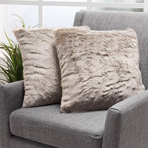 Christopher Knight Home Ellison Light Brown Decorative Faux Fur Fabric Throw Pillow Set of 2 Ideal for The Living Room or Bedroom Plush Texture