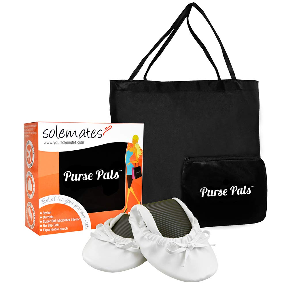 Solemates Purse Pal Foldable Bowed Ballet Flats w/Expandable Tote Bag for Carrying Heels (X-Large (11-12), White)