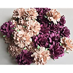 Thai Decorated 20 pcs Big Rose Purple Wine and Cream Colors Mulberry Paper Flower 40mm Scrapbooking Wedding Doll House Supplies Card 82