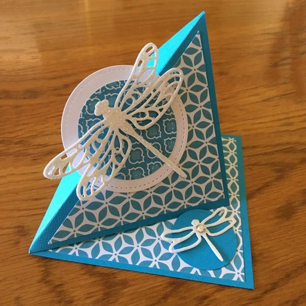 /álbumes de recortes bricolaje manualidades color plateado para manualidades periwinkLuQ Dragonfly Troquel de corte de acero al carbono