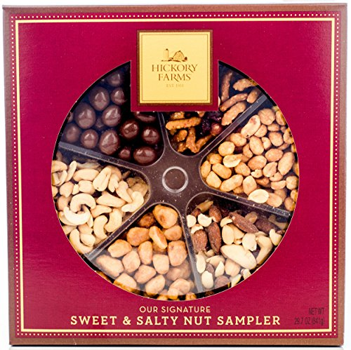Hickory Farms Nuts Gift Set Box Prime Holiday Sampler with Savory Assortment of Honey Roasted, Butter Toffee and Chocolate Covered Peanuts, Cashews, Mixed Nuts and Cranberry Sesame Nut Mix. 29.7oz