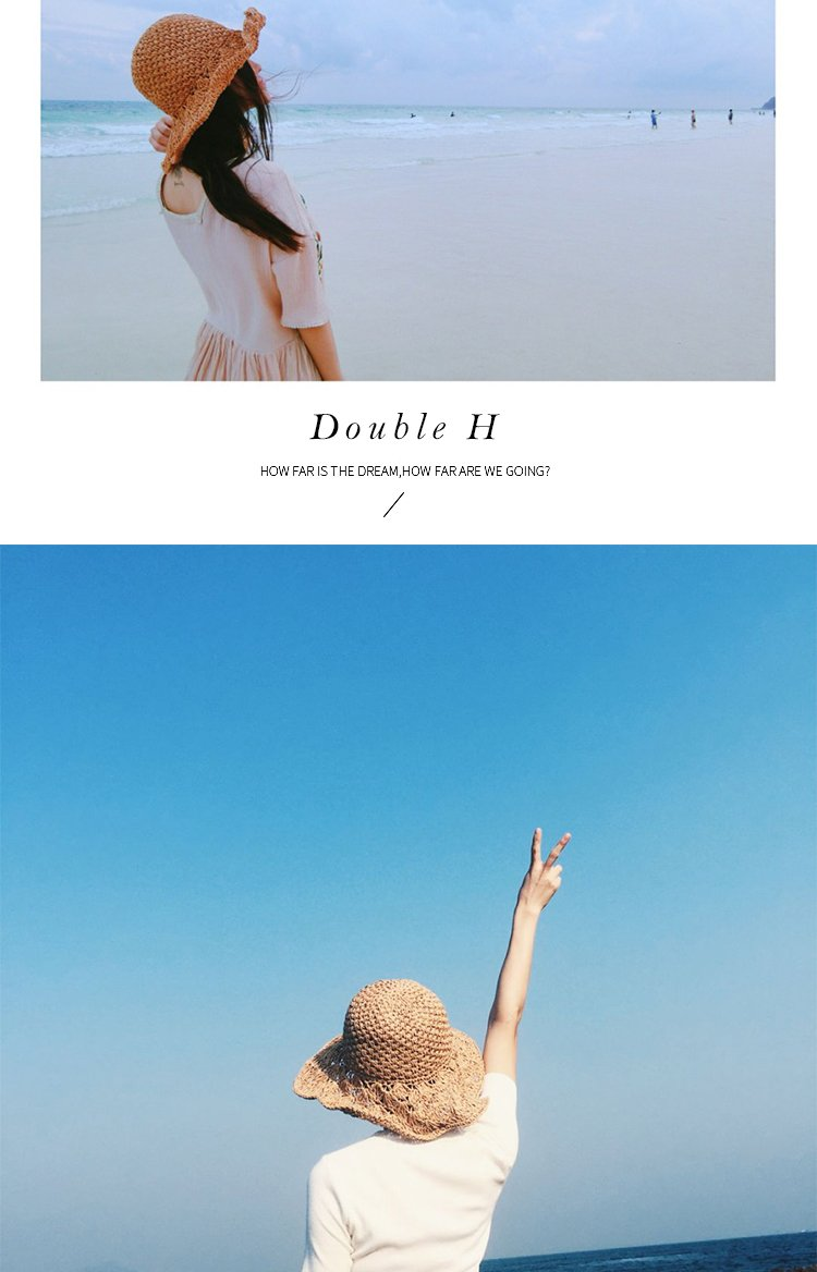 Double H Women Floppy Sun Hat Summer Wide Brim Beach Cap Foldable Cotton Straw HatUPF50 Brim Width M(56-58cm)