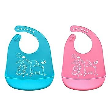 Tukistore Impermeable Baberos de Silicona para Bebés - Fácil de enrollar toallitas limpias y de Secado