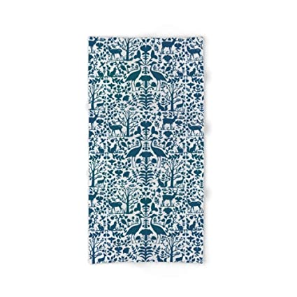 "xcvgcxcvasda Folk Art Pattern Blue Teal On Gray Bath Towel 31.5""x51.2"""