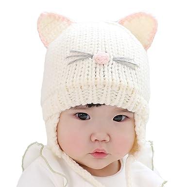 0fac13638e6f Enfants dHiver Tricotés Ensemble Chapeau et Écharpe, Estwell Mignonne Chat  Casquette Bonnet Echarpe pour Enfants