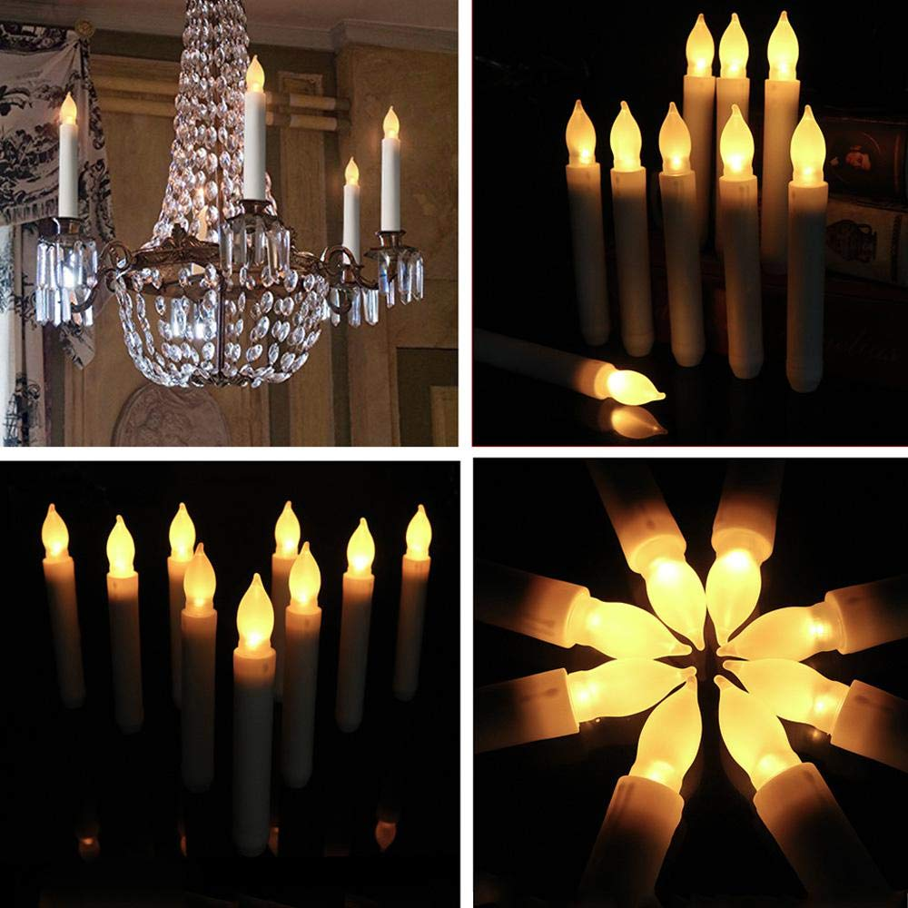 UMIWE 12pcs Flameless Led Taper Candles 7 Color Change//Fixed One Color Remote Control Battery Operated Realistic Electronic Candle for Halloween Christmas Wedding Timer Candles