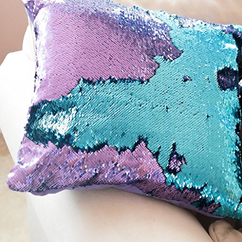 16x16 Mermaid Pillow with Insert Aqua/Purple with Flip sequin Throw Pillow Mermaid Magic Glitter Reversible Color Changing Gifts For her Anti stress & Anti Depression Therapeutic mermaid pillows.