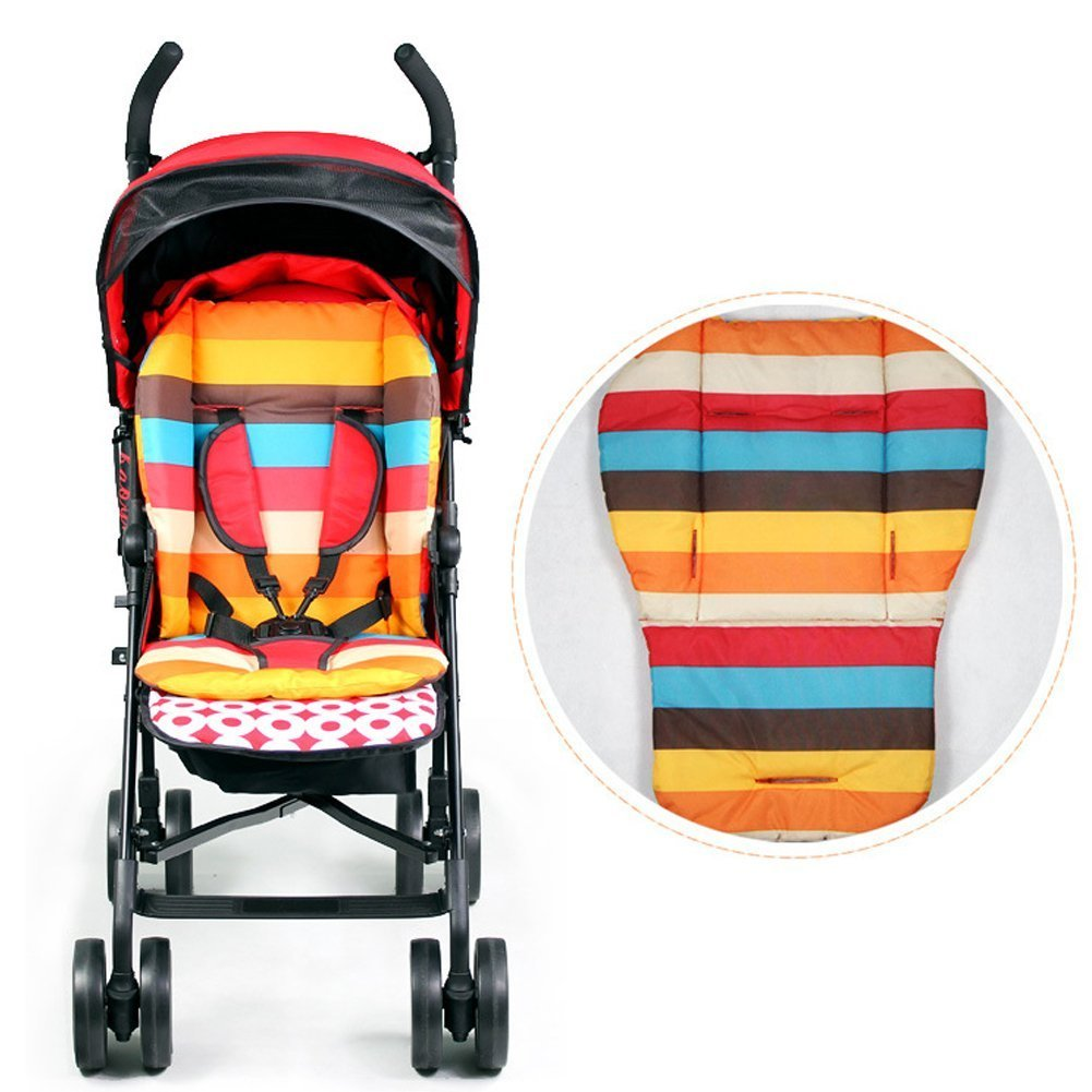 Universal Baby Stroller Seat Liner, Woopower Pram Rainbow Thick Cotton Cushion Pad - Kids Pushchair Buggy Waterproof Buggy Mat Cover