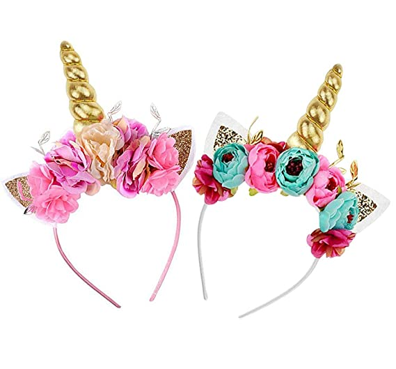 CREATEASY Unicorn Horn Headband Rose Flower Headband Unicorn Party Unicorn  Photo Props Cosplay Costume Headwear 1f2c14adf204