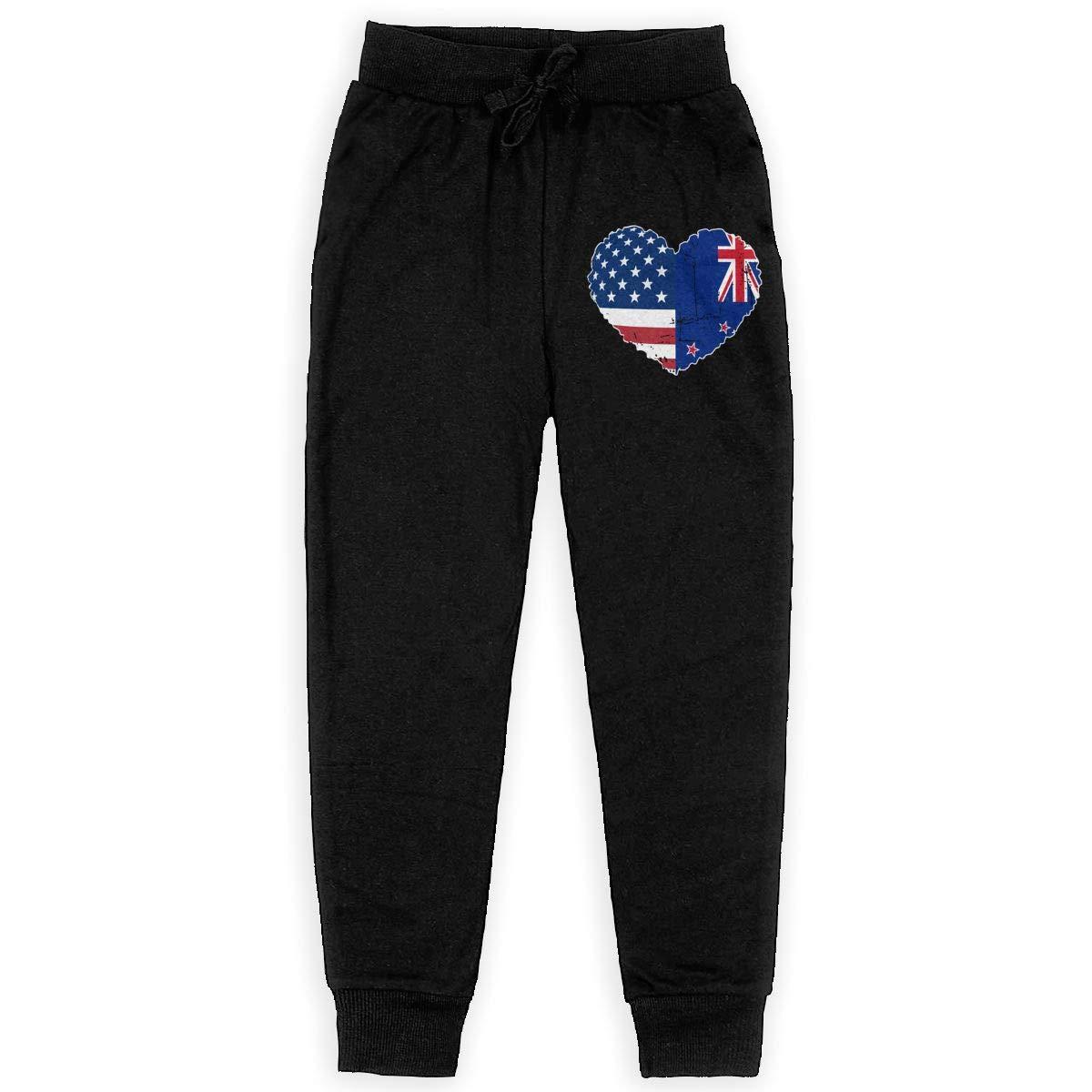 Boys Trousers Girls for Teenager Girls WYZVK22 Zealand USA Flag Heart Soft//Cozy Sweatpants