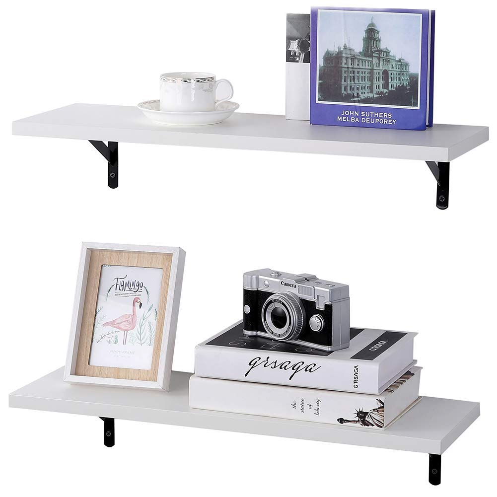 SUPERJARE Wall Mounted Floating Shelves, Set of 2, Display Ledge, Storage Rack for Room/Kitchen/Office - White by SUPERJARE