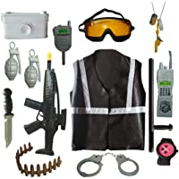 Indusbay® Complete Army Role Play Toy Set with Military Jacket, Gun, Toy Weapons, Granade, intercom Cosplay Fancy Dress for Kids