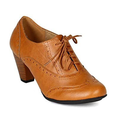 66accf66a8b24 WestCoast Women's Cuban Chunky Heel Lace-up Ankle Booties Oxford ...