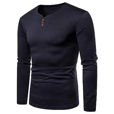 T-Shirt - Uni - Col à Boutons - Manches Longues - Homme Polo Sport T ... 18b9c8358358
