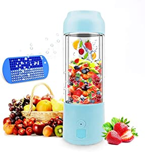 Portable Blender USB Rechargeable Juicer Cup Personal Size 16 oz Mini Smoothie Travel Cup Electric Fruit Mixing Machine Power, 6 Blades in 3D, Ice Tray, FDA BPA Free