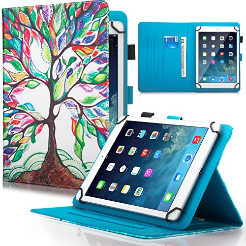 9.5-10.5 inch Universal iPad Case, Dteck Slim Folding Multi-angle PU Leather Magnetic Closure Case Cover [Cards/Money Slots] Flip Stand Wallet Protect Shell Case for All 9.5-10.5 inch Tablet,Life Tree (Case Tablet Valuepad)