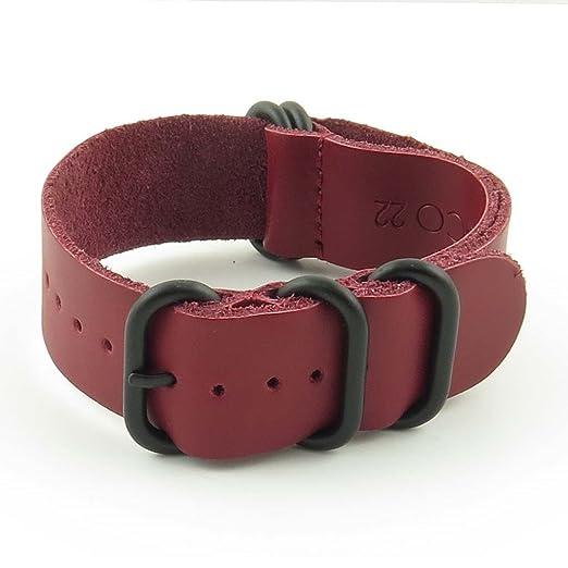 StrapsCo 26 mm rojo de piel G10 Nato Zulu Correa para reloj con anillas, color negro mate: Amazon.es: Relojes