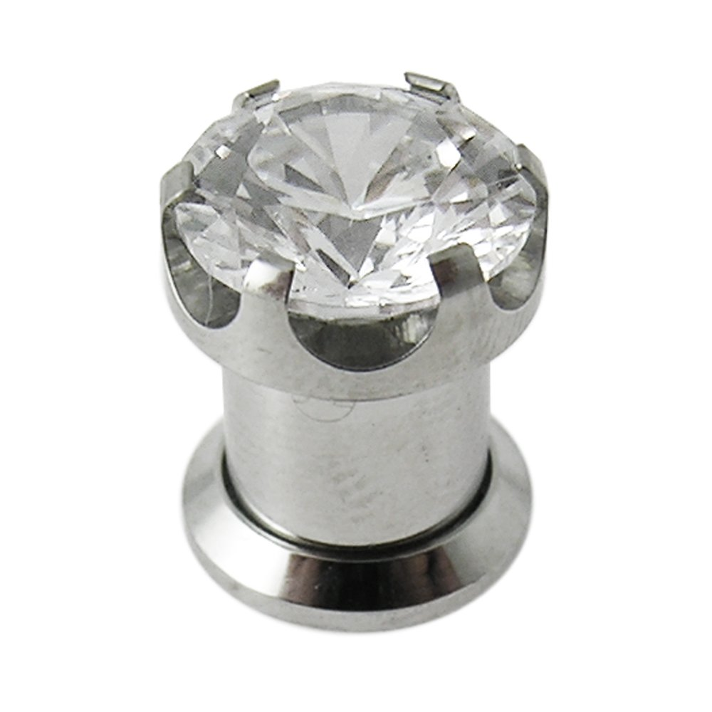 14MM Prong set CZ Stone Surgical Steel Fit Flesh Tunnel Body jewelry