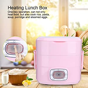 Heating Lunch Box, 1.5L Portable Oven Electric Food Heater Warmer Food Steamer Heating Food Container Mini Rice Cooker for Home Office School Use(US Plug)