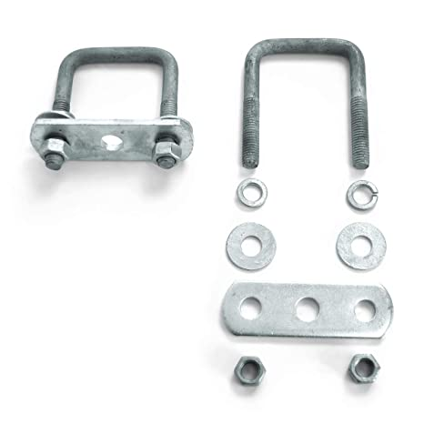 Sturdy Built Single Axle Galvanized U Bolt Kit For Mounting Boat Trailer Leaf Springs For 1 5 Inch Square Axle Diagonal
