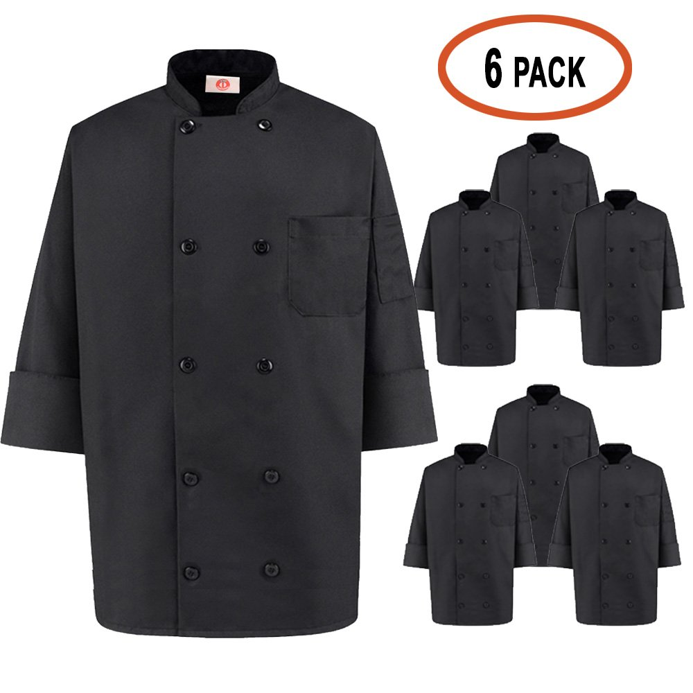 350 Chef Apparel 10 Pearl Button Chef Coat-Easy-Care Twill - Black by Chef Apparel