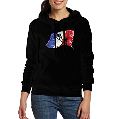 Nordic Two Flag Of France Women Hoodies Print Cotton Long Sleeve Pullovers With Pocket