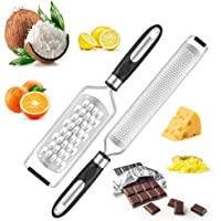 Zanmini Lemon Zester and Cheese Grater Set Suitable for Chocolate, Nuts, Orange, Garlic, Ginger, Fruits Slicer Zester(2 Piece Set)