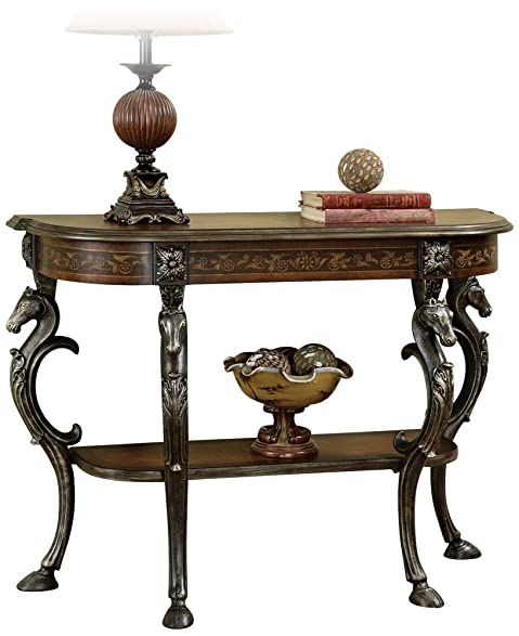 Powell Masterpiece Floral Demilune Console Table With Horse Head And  Hoofed Foot Cast Legs And
