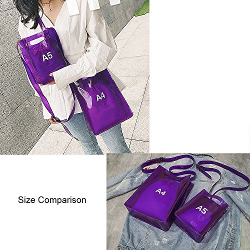 Bag Messenger For Adjustable Handbag Inner Shoulder Purse small Clear Strap Women With Nfl Approved Purple Crossbody Stadium BAwXq5nSxt
