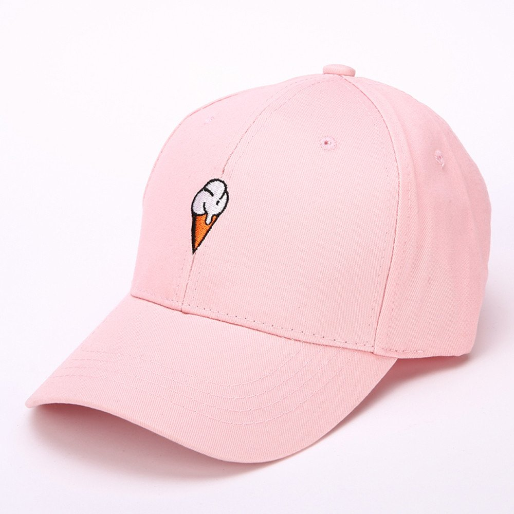 Mens Womens Couple Peaked Caps Hip Hop Curved Snapback Fresh Cute Icecream Baseball Caps Adjustable Cotton Washed Hat (Pink) by Aurorax Hat (Image #2)