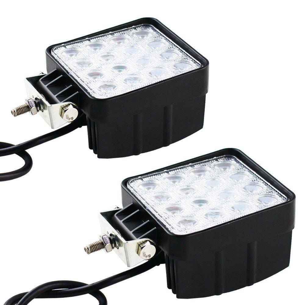 2PCS 48W LED Work Light FLOOD Lamp For Tractor Truck SUV UTV ATV Offroad 4x4 Boat