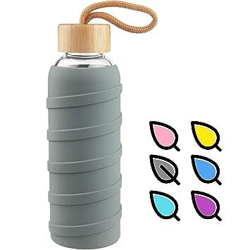 SHBRIFA Botella de Agua de Vidrio de Borosilicato Deportivo 480ml / 1000ml / 1 Litre, Botella de Agua de Cristal con Funda de Silicona y Tapa de Bambu ...