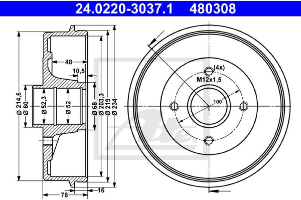 ATE 24.0220-3037.1 Bremstrommel