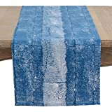 SARO LIFESTYLE Inkodye Collection Table-Toppers, 16'' x 72'', Indigo