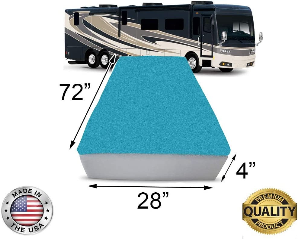 """FoamRush 4-Inch Bunk (28"""" x 72"""") Mattress Cooling Gel Memory Foam RV Mattress Replacement, Medium Firm, Comfort, Pressure Relief Support, Made in USA, Travel Camper Trailer Truck, Cover Not Included"""