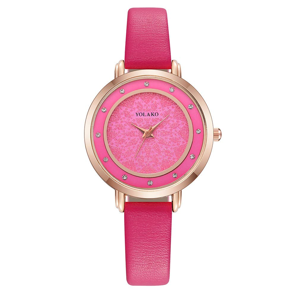 Iuhan Wrist Watch for Women Girls Holiday Deals, Women's Casual Quartz Leather Band Newv Strap Watch Analog Wrist Watch Great Gift for Christmas (Hot Pink)