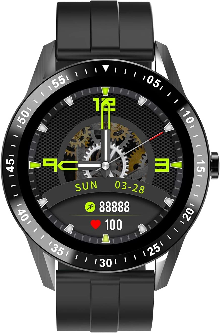 JINPX Relojes Inteligentes Hombre Llamada Bluetooth con Pulsómetro,Podómetro,Monitor de Sueño,5 Modos de Deportes Cronómetro y GPS,resión Arterial,Smartwatch Inteligentes Hombre para iOS y Android