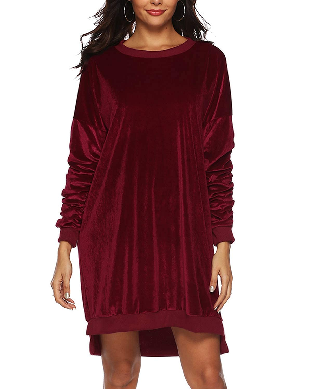 Auxo Sudadera Larga Mujer Vestidos Sudadera Manga Larga con Cuello Redondo Casual Pullover Invierno
