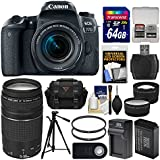 Canon EOS 77D Wi-Fi Digital SLR Camera & EF-S 18-55mm IS STM with 75-300mm Lens + 64GB Card + Case + Battery & Charger + Tripod + Tele/Wide Lens Kit