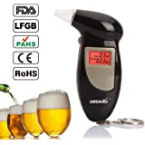 GREENWON Breathalyzer Keychain Digital Alcohol Tester Detector Breath Analyzer Audible Alert Portable with LCD Display and Replacement Mouthpiece Personal Use