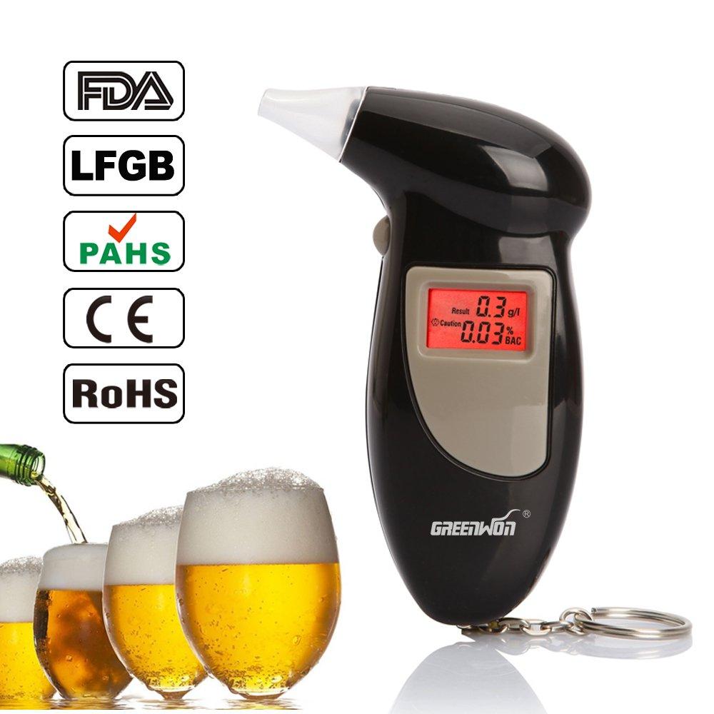 GREENWON Digital Alcohol Breath Tester Breathalyzer Analyzer Detector Test Keychain