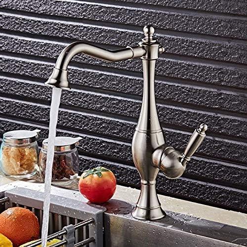 ZT-TTHG 現代のミニマリストクロームメタルブラシキッチンの蛇口は、実用的な美しい回転したシンク浴室のシンクのホットとコールドメッキ蛇口セットすることができます