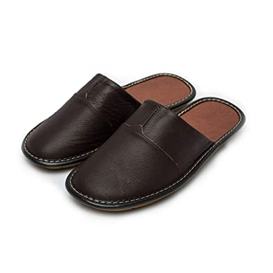 a5c55e8e34b2 Haisum Mens Indoor Outdoor Luxury Genuine Leather Mule Closed Toe Slip On  House Slippers  Amazon.co.uk  Shoes   Bags